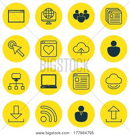 Set Of 16 Online Connection Icons. Includes Human, Send Data, Login And Other Symbols. Beautiful Design Elements.