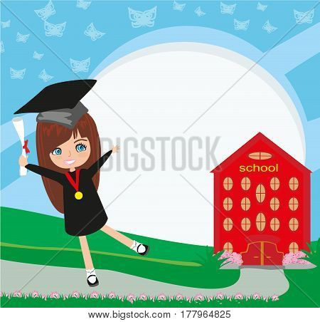 School-College Graduation - Girl , vector illustration