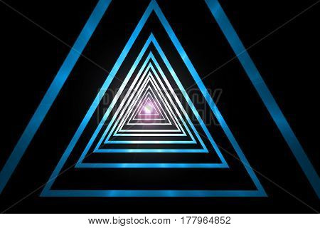abstract geometric blue gradient triangle tunnel hypnotic spiral with light point on black background computer 3d render illustration