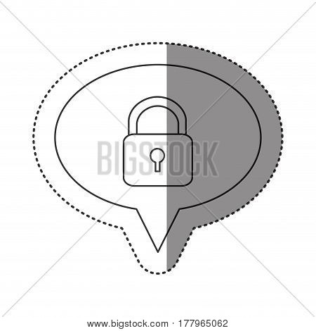 sticker of monochrome contour of oval speech with padlock icon vector illustration