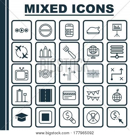 Set Of 25 Universal Editable Icons. Can Be Used For Web, Mobile And App Design. Includes Elements Such As Photo Camera, Garden Fork, Television And More.