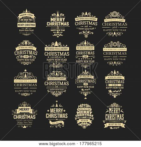 Set of 16 golden vintage Christmas badges, labels, emblems on the black background. Badges and labels with merry christmas and happy new year greetings. For decoration cards, backdrops, book covers