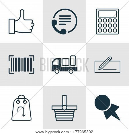 Set Of 9 Commerce Icons. Includes Recommended, Pannier, Refund And Other Symbols. Beautiful Design Elements.