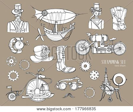 Steampunk objects and mechanism collection machine, clothing, people and gears, Hand drawn vintage style illustration set.