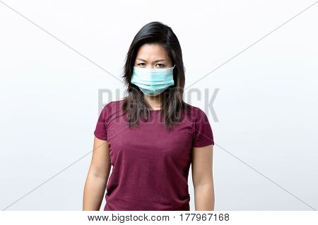 Young Brunette Woman Wearing A Face Mask