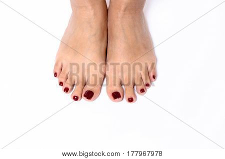 Woman Showing Off Her Varnished Toenails
