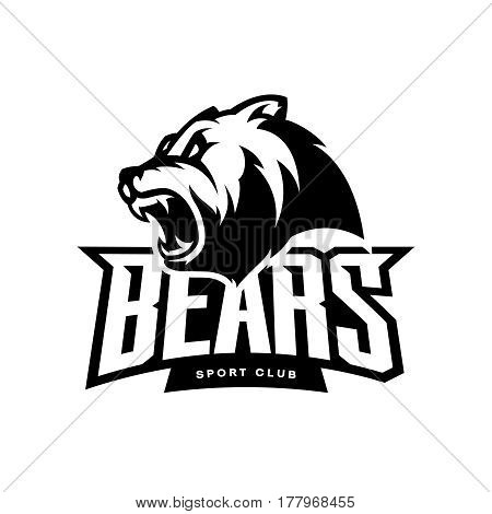 Furious bear sport mono vector logo concept isolated on white background. Modern predator professional team badge design. Premium quality wild animal t-shirt tee print illustration.