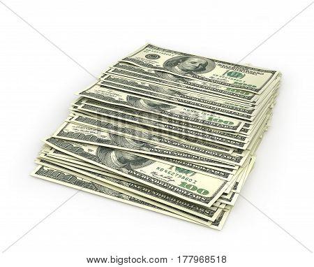 Stack of dollar bills. 3d illustration .