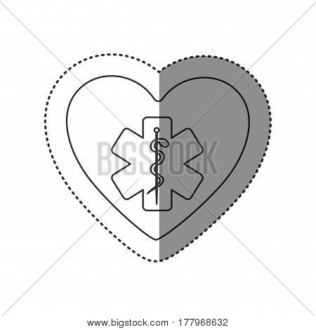 sticker of monochrome silhouette of heart with health symbol with star of life vector illustration