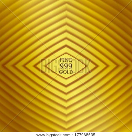 Vector background. Staged volume structure in the form of rhombus. 3D ripples effect. Styled ingot gold