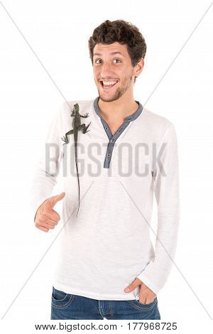 Young Man With Lizard