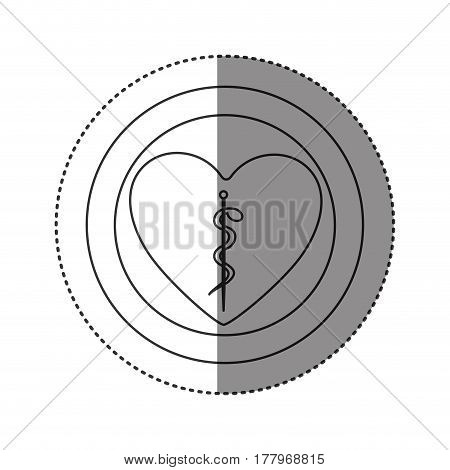 sticker of monochrome silhouette of heart inside of double circle with asclepius snake coiled vector illustration