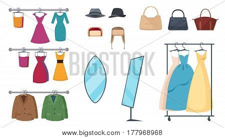 Isolated and colored clothing store icon set with elements and attributes clothes on hangers and accessories vector illustration
