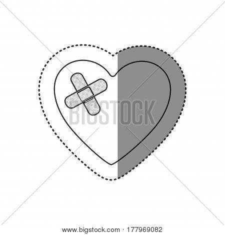 sticker of monochrome silhouette of heart with adhesive bandage vector illustration