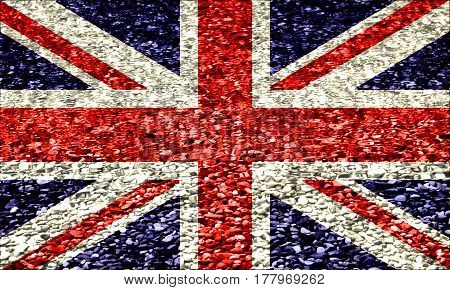 The British Flag On A Background Of Pebbles In Water, Blue, White, Red