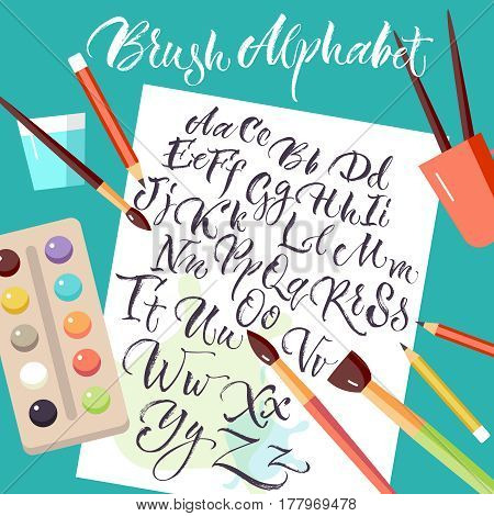 Colored design composition with artistic tools and sheet of paper with hand drawn uppercase and lowercase alphabet letters flat vector illustration