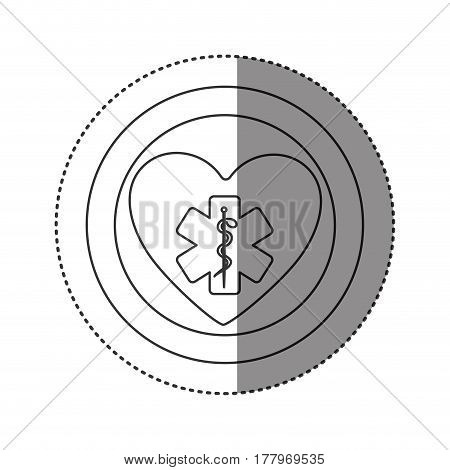 sticker of monochrome silhouette of heart inside of double circle with star of life vector illustration