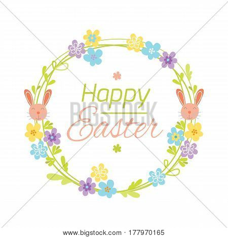 Happy easter hand drawn logo with hand lettering greeting decoration element and natural wreath handmade style vintage symbol spring flower vector illustration. Doodle floral branch sketch graphic.
