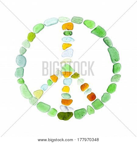 symbol of peace made of sea glass on white background