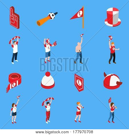 Isometric set of sports fans with accessories including hats and flags on blue background isolated vector illustration