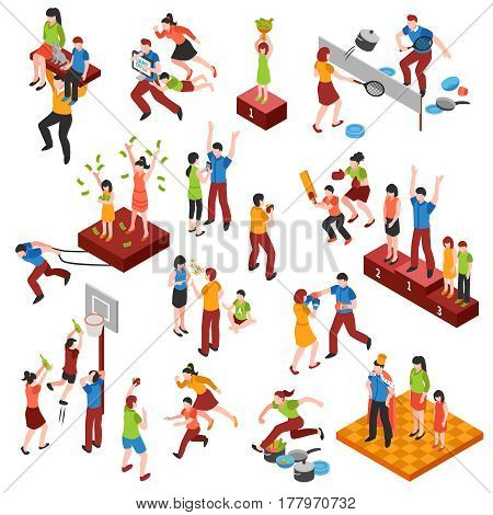 Isometric family relationships icon set with playing in games championship and enjoyed each other vector illustration