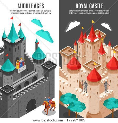 Two vertical royal castle vertical banner set middle ages and royal castle descriptions vector illustration