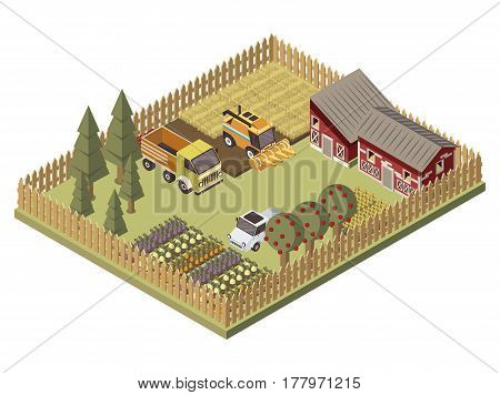 Farm vehicles isometric design with agricultural buildings cultivated lands apple trees garden beds with harvest vector illustration