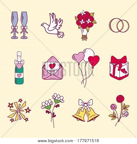 Wedding couple relationship marriage nuptial icons design ceremony celebration and holliday folk icons beauty hand drawn pink vector illustration. Cheerful fashion groom and bride symbols.