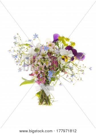Tender beautiful spring floral pink-lilac-blue bouquet various varieties and colors tied with a silver ribbon on an isolated white background
