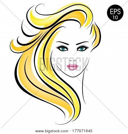 Vector Stock blonde Woman. Beauty Girl Portrait with blonde hair and blue eyes for your design