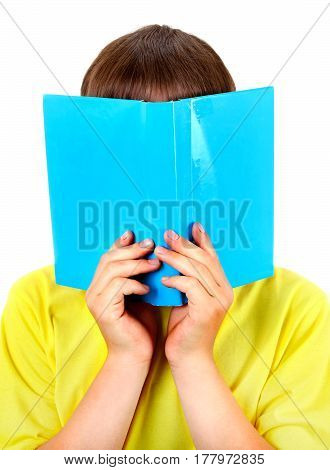 Teenager hide the Face behind the Book Isolated on the White Background