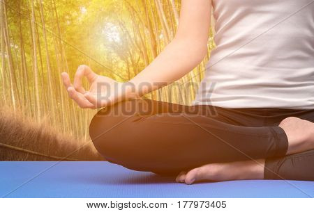 Young woman keep calm and meditates while practicing yoga in nature bamboo forest. Yoga and meditation have good benefits for health. Photo concept for Yoga Sport and Healthy lifestyle