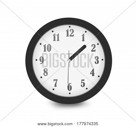 Realistic Wall Analog Black White Silver Clock With 12 Hours Isolated On White Background. Showing T
