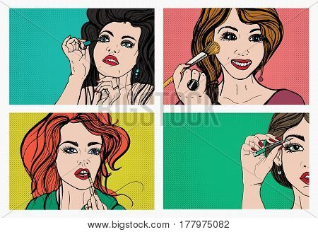 Woman doing makeup, Beautiful girls with cosmetics, lipstick, eyebrows, skin, mascara. Pop art, retro, comics style set Vector illustrations