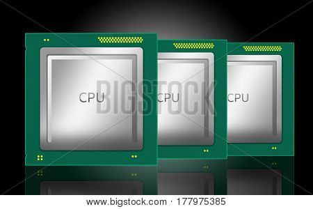 3D Illustration Of A Computer Cpus. Isolated On Black Background With Mirror Reflection