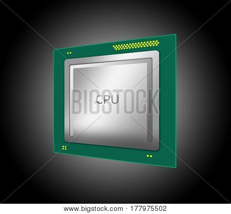 3D Illustration Of A Computer Cpu. Isolated On Black Background