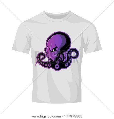 Furious octopus sport vector logo concept isolated on white t-shirt mockup. Modern professional team badge design. Premium quality wild cephalopod mollusk t-shirt tee print illustration.