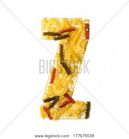 Pile of spaghetti forming a letter Z, all different shapes, colors and varieties