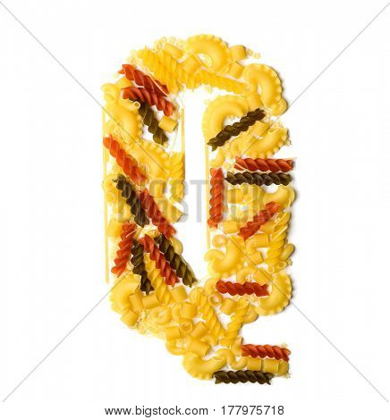 Pile of spaghetti forming a letter Q, all different shapes, colors and varieties