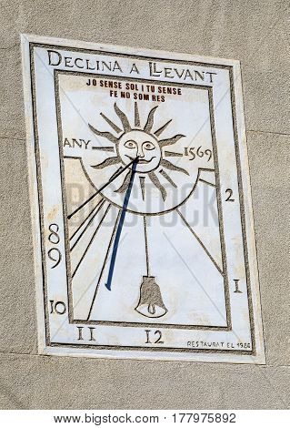 Sun clock in the Rectory of Sant Pere in Premia de D alt province of Barcelona Spain