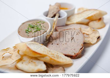 Pate. Liver. Assorted Pate On The Plate.