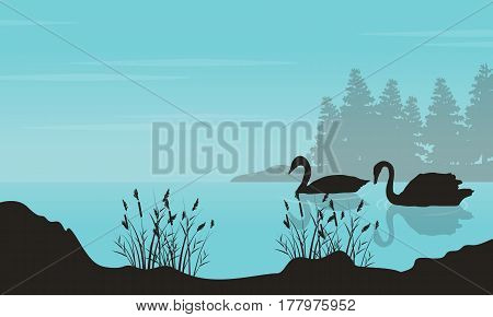 Vector art of swan landscape silhouettes collection stock