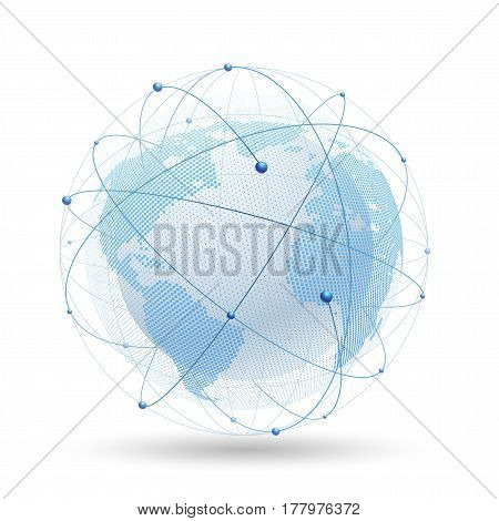 Modern globe network connection, Digital network background, Internet technology. Vector illustration