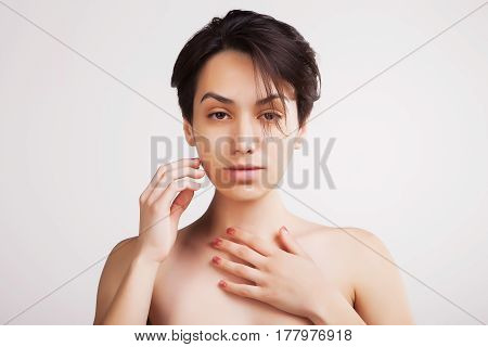 sexy asian model spa studio portrait on white