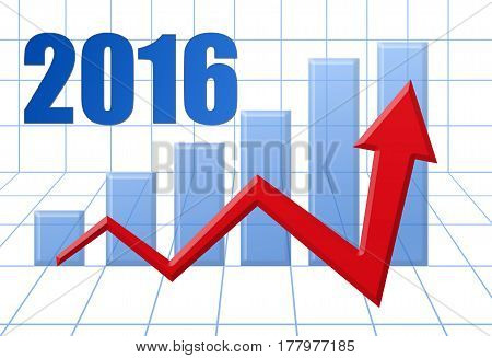 Graph Schedule Red Growth Arrow On Blue 3D Grid With Text: Year 2016