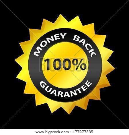 Money Back 100% Guarantee Label. On Black Background. For Internet Businessmen, Shops, E-commerce. G
