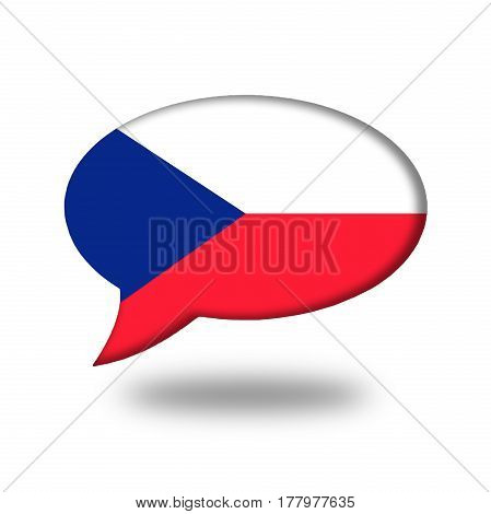 Czech Flag In A Speech Bubble Isolated On White