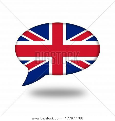 English Flag In A Speech Bubble Isolated On White. Learn How To Speak English. Audio Course