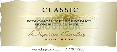 Food or drink vector label template for Organic farming products (vodka or bakery) with golden ripe wheat ear.