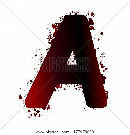 Dirty Bloody Letter A With Spots. Grunge Alphabet. Scary Letters For Halloween